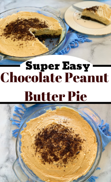Chocolate Peanut Butter Pie: A creamy peanut butter filling with an Oreo cookie crust. It's so easy and perfect as a summer dessert. #ChocolatePeanutButterPie #Pie #EasyPie #Dessert #SummerDessert #PeanutButterDessert