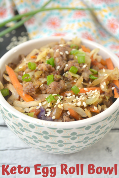 Keto Egg Roll Bowl: This low carb asian cuisine is perfect for a one-bowl weeknight dinner. It's quick to make and tastes just like an egg roll, without the carbs. #LowCarb #EggRoll #AsianRecipe #Keto #KetoDiet #KetoRecipe #KetoDinnerRecipe
