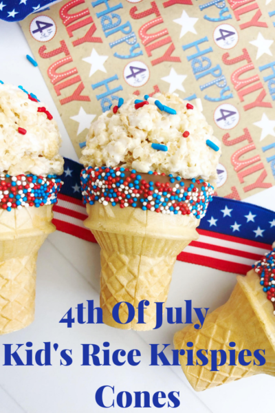 4th Of July Kids Dessert: These cute ice cream cone Rice Krispies are easy and fun! Serve them as a 4th of July dessert or snack option for kids. #4thOfJuly #4thOfJulyDessert #KidsDessert #PatrioticDessert #PatrioticRecipes #RiceKrispies #EasyKidsDesserts