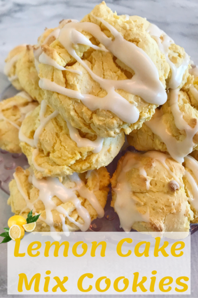 Lemon Cake Mix Cookies: These soft and sweet cookies are full of lemon flavor and topped with a lemon glaze. They couldn't be any easier to make! #LemonCookies #SpringRecipe #Dessert #EasyCookieRecipe #CakeMixCookie