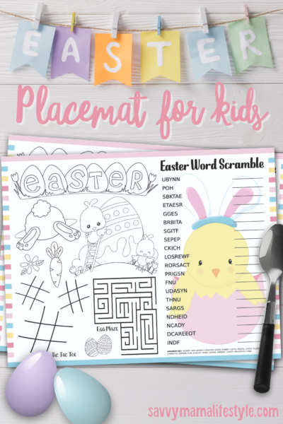 Printable Easter Placemat: Keep the kids entertained and help keep clean up easy with these fun printable easter kid's placemats! Just download and print. #Easter #KidsEasterIdeas #SpringKidsIdeas #Printables #TableDecor #EasterTableDecor