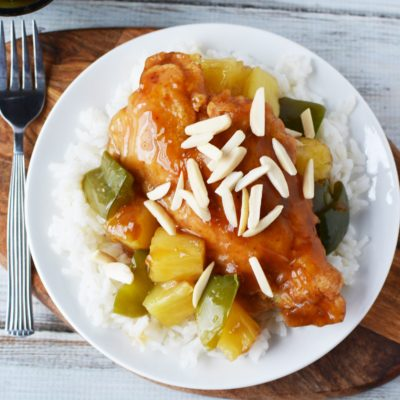 Sweet Hawaiian Chicken With Teriyaki Glaze Over White Rice