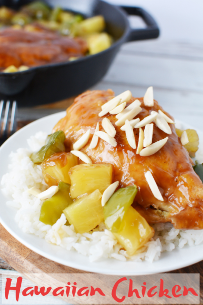 Easy Hawaiian Chicken: Sweet and juicy chicken served with teriyaki sauce, pineapple and green peppers! It's an easy family dinner recipe that everyone loves. #ChickenRecipe #Teriyaki #ChickenandRice #DinnerRecipe #EasyDinnerRecipes #QuickMeallIdeas