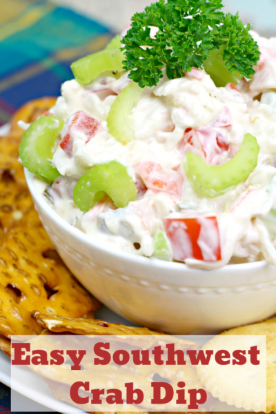 Easy Crab Dip Recipe: This Southwest Crab Dip recipe has a little kick and it's perfect for chips and crackers. #Dip #Appetizer #EasyDipRecipe #ColdDip #Tailgating #PartyFood