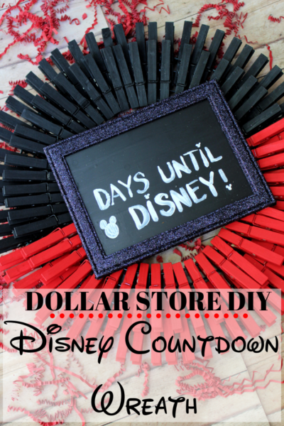 This DIY Disney countdown idea is such an easy Disney craft! Everything is from the Dollar store too! Just paint, glue and re-use for every Disney vacation. #DisneyCraft #DisneyCountdownIdeas #DIYDisney #DisneyCraftIdeas #DisneyVacationTips