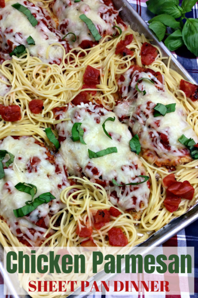 Looking for an easy weeknight dinner idea? This Italian Chicken Parmesan Sheet Pan Dinner is delicious and easy clean up. Just enjoy with Garlic Bread! #SheetPanDinner #ChickenParmesan #EasyDinnerIdeas #ItalianFood #PastaDinner #OnePanDinner