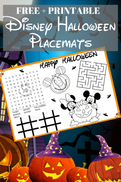 Print FREE Disney themed Halloween kids placemats that are disposable! Just download, save and print year after year. #Printable #Halloween #DisneyHalloween #KidsPlacemats #KidsHalloween #HalloweenPartyIdeas