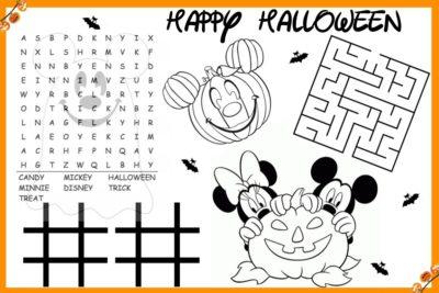 Kids Halloween Placemat, Printable Halloween Placemat, Kids Halloween Placemat, Disposable Kids Halloween Placemat