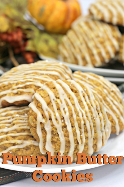 These Pumpkin Butter Cookies are easy for fall, with a chewy oatmeal texture and glaze. Great for easy baking! #FallBaking #PumpkinCookies #PumpkinBaking #Cookies #EasyCookies
