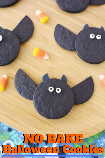 This Halloween Kids Dessert is SO EASY! They're Halloween No Bake Cookies that look like cute bats. Perfect for a Halloween Party! #Halloween #HalloweenCookies #NoBakeCookies #NoBakeHalloween #FallCookies #HalloweenKids