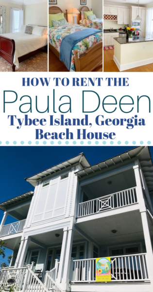 Vacation in Tybee Island, Georgia in Paula Deen's former beach house. See a photo tour of the space and find out how to reserve it! #TybeeIsland #PaulaDeen #TybeeIslandGeorgia #FamilyTravel #VacationTips