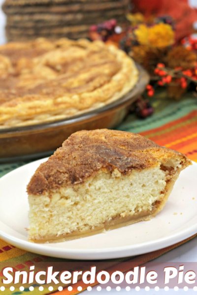 Kick off fall baking with this warm and delicious Snickerdoodle Pie recipe. It's a combination of the snickerdoodle cookie with a rich and buttery pie crust. Perfect Thanksgiving dessert! #ThanksgivingDessert #ThanksgivingPie #PieRecipe #FallBaking #Snickerdoodle