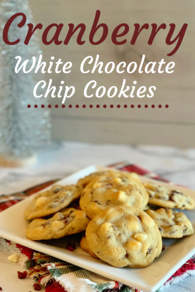 These chewy Cranberry White Chocolate Chip Cookies are chewy and sweet! They're the perfect holiday dessert idea or gift idea. Includes Cookie Mason Jar Gift tutorial + FREE printable recipe card. #Cookies #ChristmasCookies #DropCookies #HolidayBaking #ChristmasDessert #MasonJarGift
