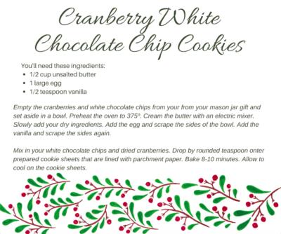 Cranberry White Chocolate Chip Cookies, Mason Jar Gift, Cookie Mason Jar Gift, Homemade Christmas Gift