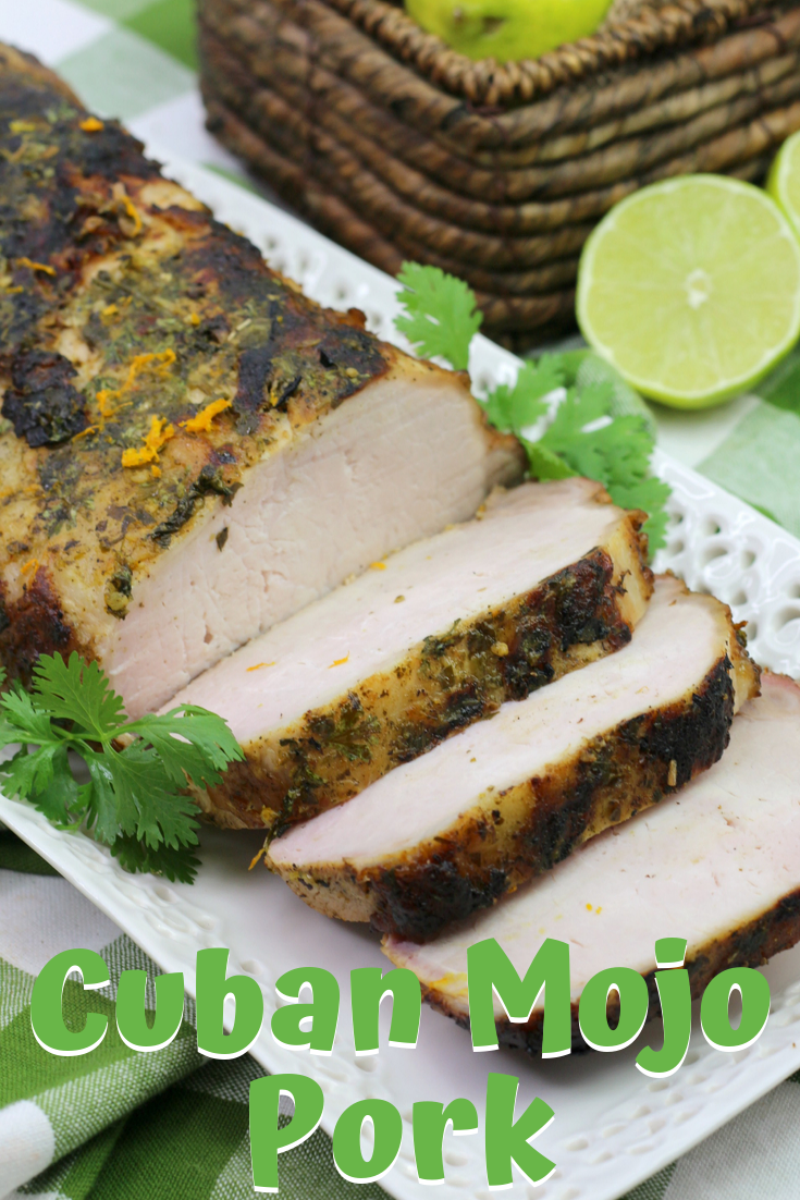 A juicy pork tenderloin that's made with fresh cuban mojo marinade. Can be baked or grilled! #pork #porktenderloin #grilling