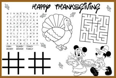 Turkey Thanksgiving Kids Placemats, Turkey Kids Placemats, Thanksgiving Kids Placemats