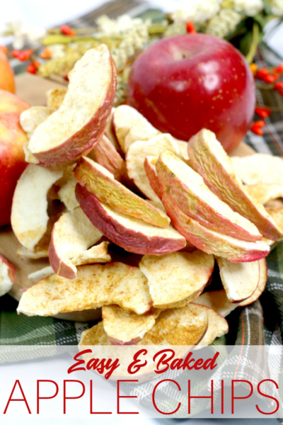 Bake these easy and delicious apple chips as a healthy fall snack idea! #Fall #AppleRecipe #DriedFruit #AppleChips