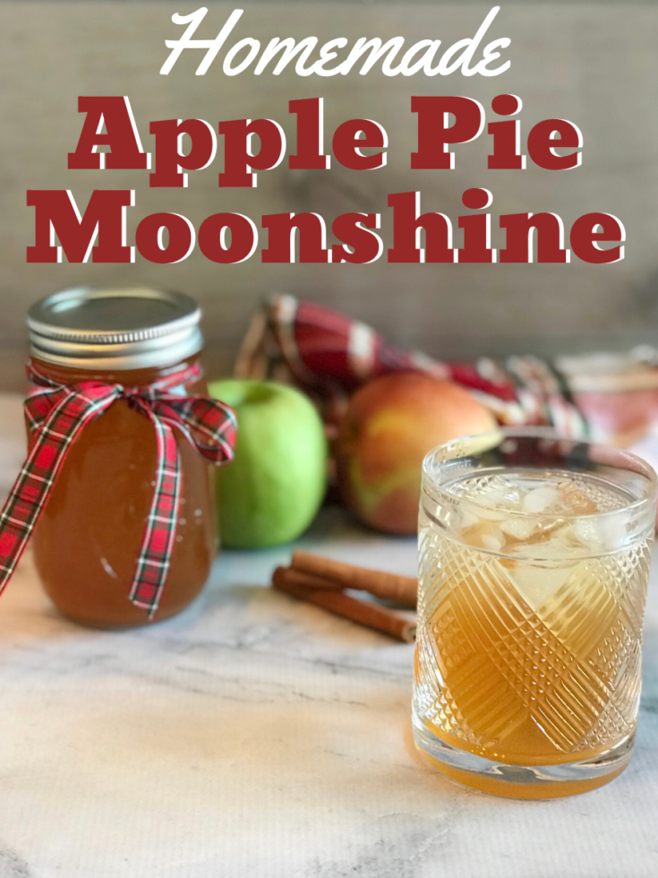 How to make your own homemade apple pie moonshine - the perfect fall cocktail. Makes a large batch, which is great for parties and holiday gift giving. #Moonshine #Cocktail #AlcoholicDrinks #ApplePie #AppleRecipe #AppleDrink #DIY #DIYGift #ChristmasGift #HomemadeGift #GiftIdea
