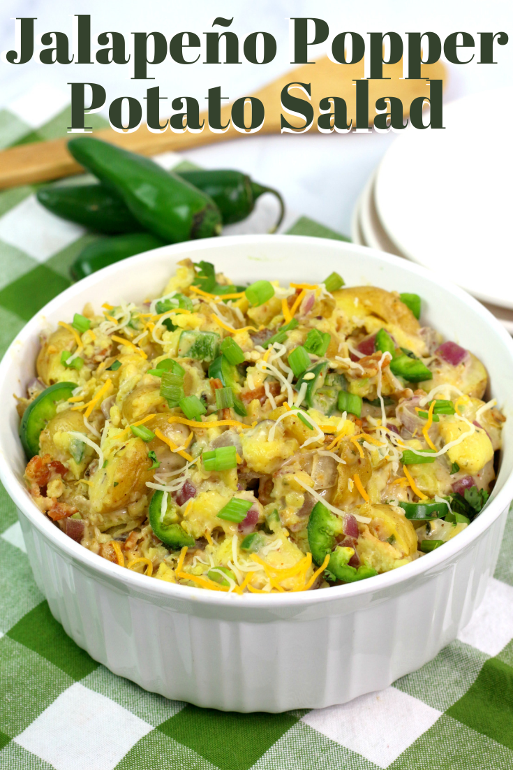 Potato Salad Recipe with a bit of a kick! Like your favorite jalapeño popper, it's creamy with bacon and golden potatoes. #PotatoSalad #Tailgating #PotatoSaladRecipe #SaladRecipe