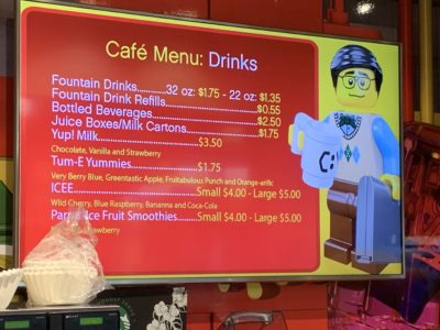 Legoland Atlanta Cafe, Legoland Atlanta Food Prices