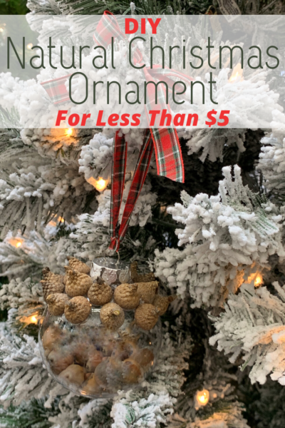 This DIY Natural Christmas Ornament is made from recycled material, acorns from the outdoors and costs less than $5 to make! #Christmas #DIY #Crafting #ChristmasOrnament #DIYChristmasOrnament #Holiday #ChristmasTreeDecor #OrnamentCraft