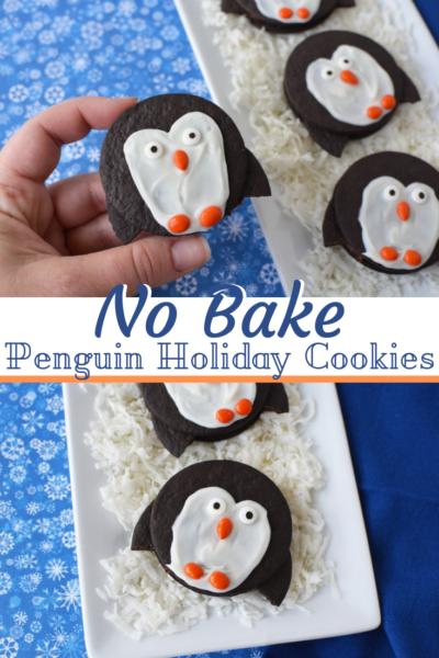 Keep it simple! These no bake Christmas cookies are an adorable penguin shape. Kids can help make these Christmas cookies and they're perfect for last minute events. #ChristmasCookies #HolidayCookies #WinterCookies #Penguins #NoBakeChristmas