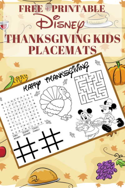 Print FREE thanksgiving kids placemats, featuring Mickey Mouse and Minnie Mouse! Perfect for Thanksgiving Dinner! #Thanksgiving #ThanksgivingDinner #Fall #ThanksgivingTableSetting