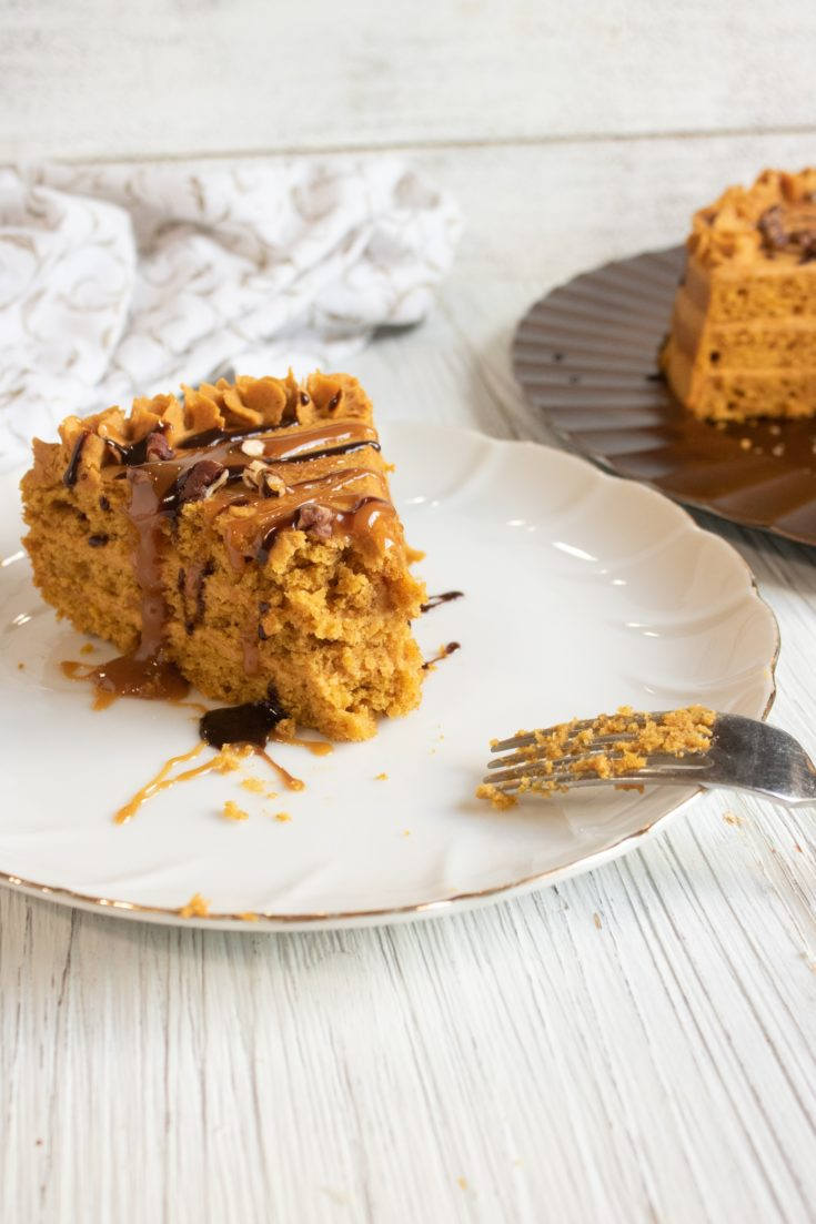 Layered Pumpkin Cake With Rich Ganache Topping