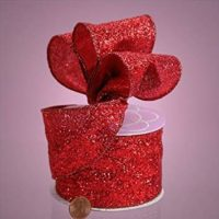 "GRAND GLITTER WIRED FABRIC RIBBON - 10 yards by 2 1/2"" (Red)"