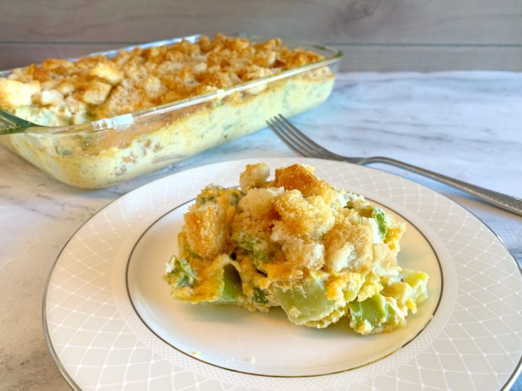 Broccoli Cheese Casserole, Thanksgiving Side dish, Thanksgiving Broccoli Side Dish Recipe, Broccoli Casserole Recipe With Croutons