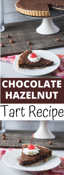 This dessert is so easy! The Chocolate Hazelnut Tart tastes decadent and comes together in just 4 steps! #Christmas #ChristmasDessert #DessertRecipe #Tart #TartRecipe