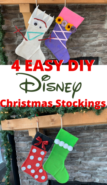 Make these DIY Disney Stockings that are inspired by your favorite characters! They're a great kids craft and each one costs less than $10 to create. #DIY #DisneyCraft #Christmas #ChristmasCraft #ChristmasStockings