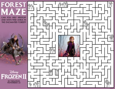 Frozen 2 Maze Game, Frozen 2, Frozen 2 Activity Sheet