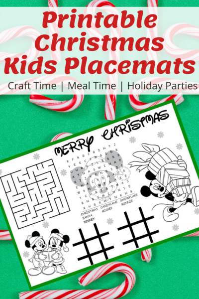 Print your FREE Christmas placemats for kids - perfect for craft time, meal time and holiday parties. They double as a coloring and activity page. #Christmas #Christmaskids #Printable #Holiday #KidsPlacemats