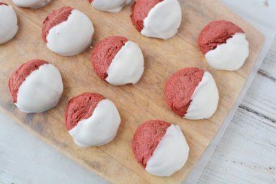 Red Velvet Cake Mix Cookies, Easy Red Velvet Cookies, Dipped Red Velvet Cookies, Cookies Made From Cake Mix