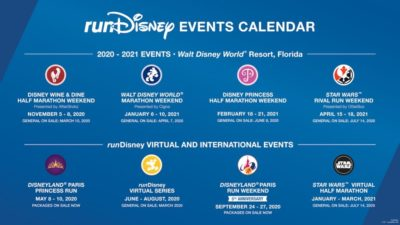 Run Disney Race Calendar 2020 - 2021, Run Disney Calendar, Run Disney Races 2021