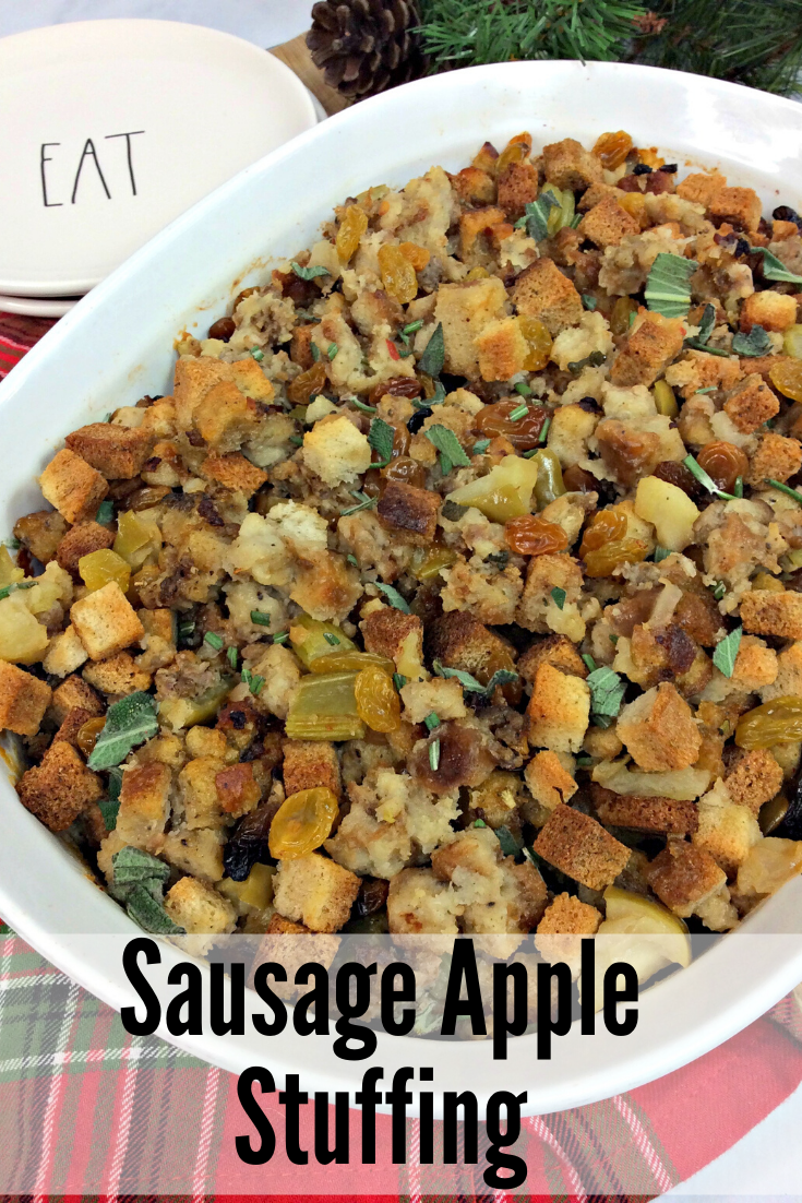 Need an easy Thanksgiving side dish? This Apple Sausage stuffing can be made ahead of time and baked when you're ready. #Thanksgiving #ThanksgivingSideDish #Stuffing #StuffingRecipe #SausageStuffing