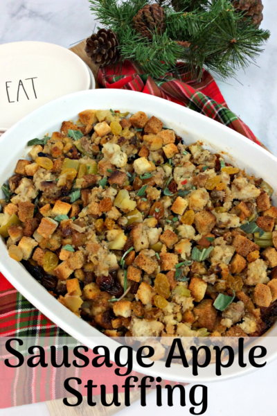 This savory sausage apple stuffing recipe is perfect for an easy Thanksgiving side dish. Make it ahead of time and bake when you're ready. #Thanksgiving #ThanksgivingSideDish #Stuffing #Dressing #StuffingRecipe #Apple #EasyThanksgiving