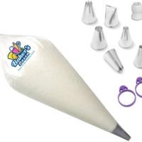PREMIUM QUALITY-Heavy Duty Disposable piping bags-100 Icing Bags Extra Thick[16-Inch] royal icing.Cake Decorating Kit/Cake Decorating Supplies with 12 Piping Tips BONUS Bag Ties & Icing Tips coupler.