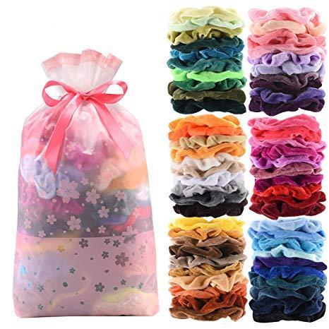 60 Pcs Premium Velvet Hair Scrunchies Hair Bands for Women or Girls
