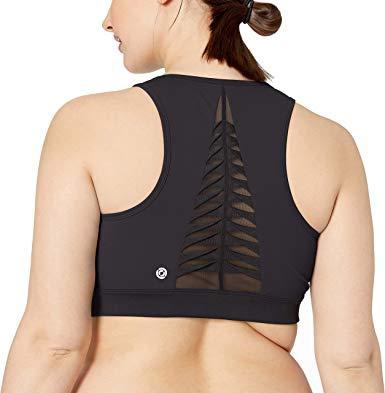 Amazon Brand - Core 10 Women's (XS-3X) Icon Series 'Fierce Pleats' Mesh Yoga Longline Sports Bra