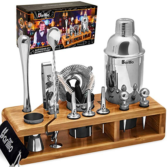 Elite 23-Piece Bartender Kit Cocktail Shaker Set by BARILLIO