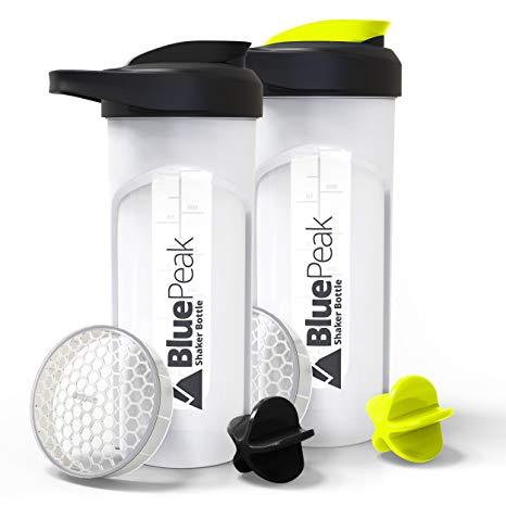 BluePeak Protein Shaker Bottle 28-Ounce, 2-Pack