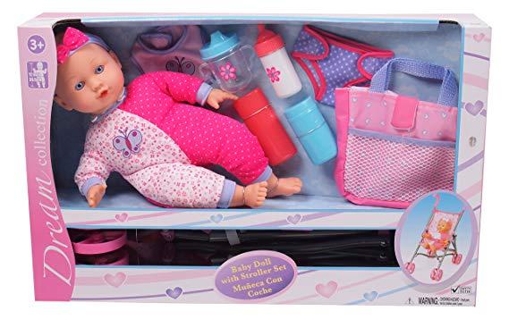 Gi-Go Baby Doll with Stroller Set