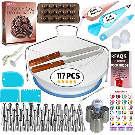 117 Piece Cake Decorating Supplies Kit for Beginners