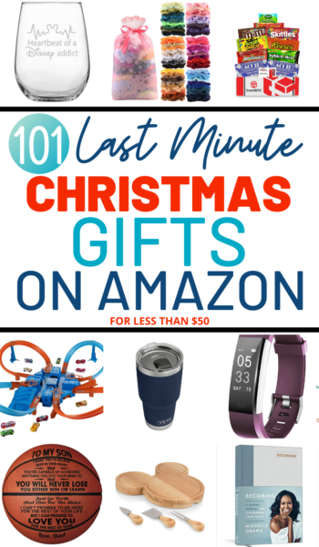 Need a last minute Christmas gift? All of these gifts are available on Amazon for less than $50! Shop for her, him, teens, traveler, baby, Disney fan and movie buff! #GiftIdeas #Christmas #ChristmasGiftIdeas #ChristmasGifts #GiftIdeas