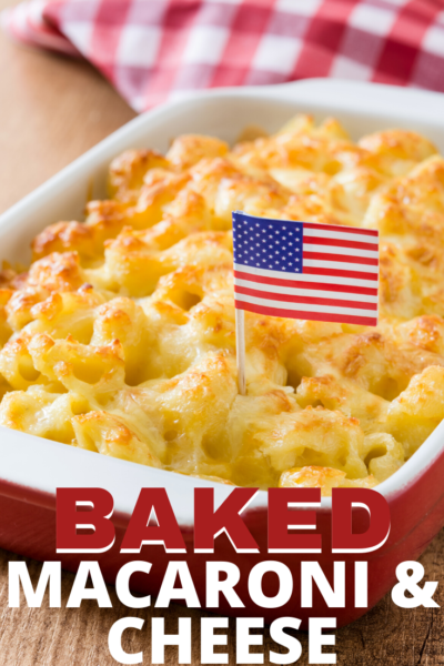 This southern style baked Macaroni and Cheese is decadent and cheesy. Baked with two different cheeses and topped with more, it's sure to be a family favorite. #MacaroniandCheese #BakedCasserole #Pasta #PastaRecipe #PastaRecipes #BakedPasta #PotLuckRecipe #Thanksgiving #ThanksgivingSide