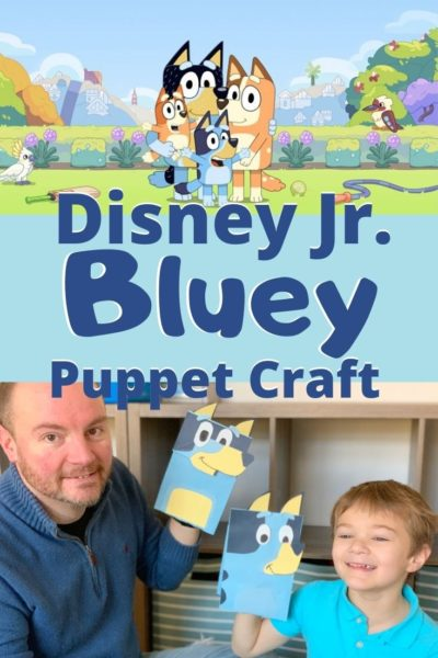 If your kids love Disney Junior's Bluey show, they'll really love this DIY puppet craft! Easy enough for kids to make with the help of their parents. #Craft #KidsCraft #Bluey #DisneyJunior #DisneyCraft #DIYDisney