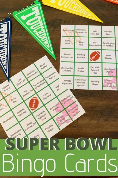 Planning your Super Bowl Party and need ideas? These Super Bowl Bingo Cards are so much fun! Guests can play as they watch the big game. #SuperBowlPartyIdeas #SuperBowl #Tailgating #GameDayIdeas #Football #BingoCards #BigGamePartyIdeas