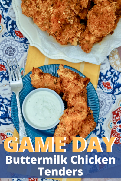 Perfect for game day, or as a kid-friendly dinner idea, these Buttermilk Chicken Tenders only take 3 steps to make! #Chicken #ChickenTenders #SuperBowl #Tailgating #TailgatingFood #PartyFood #Appetizer #EasyAppetizerRecipe #FootballFood